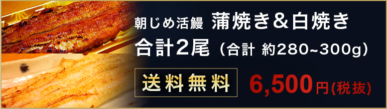 朝じめ活鰻 蒲焼き&白焼き 合計約 280~300g 送料無料 6500円
