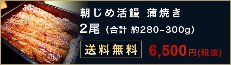 朝じめ活鰻 蒲焼き2尾 合計約 280~300g 送料無料 6500円