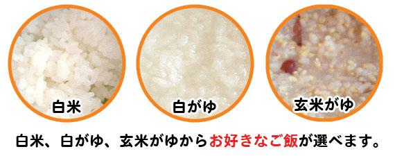 ご飯は白米、白がゆ、玄米がゆから選べます。