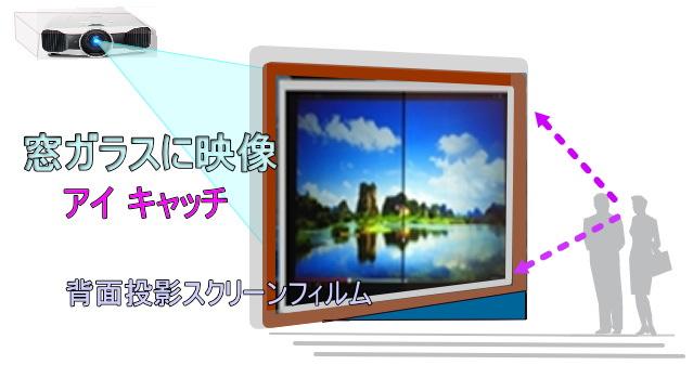 窓ガラスに広告 背面投影スクリーンフィルム