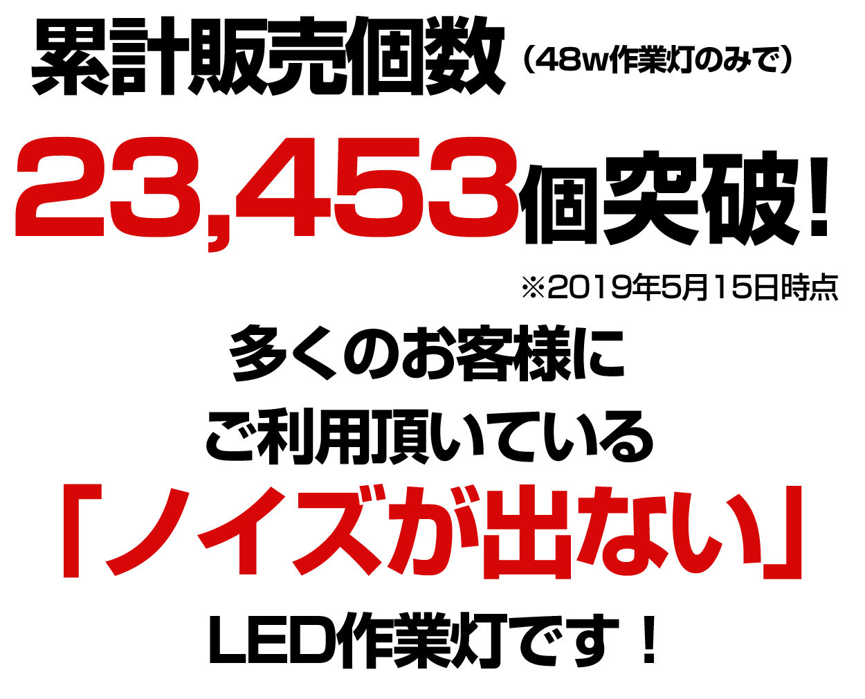 LED作業灯48W 累計販売個数紹介