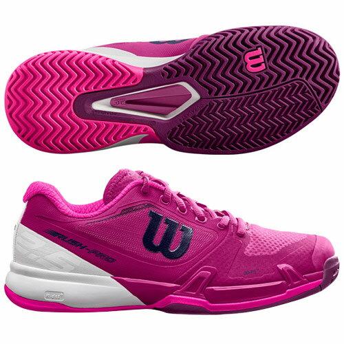 ウィルソン レディース テニス シューズ ラッシュプロ 2.5(オールコート用)ベリーベリー×ホワイト×ピンクグロウ (WRS323690)