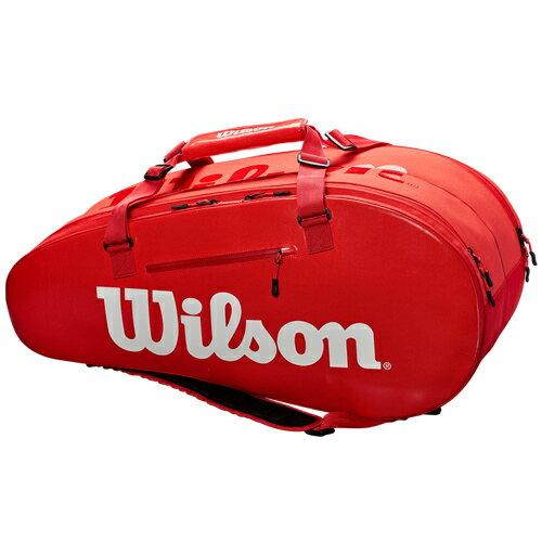 ウィルソン テニス ラケットバッグ SUPER TOUR 2 COMP LARGE レッド 9PACK (ラケット9本収納可能) (WRZ840809)