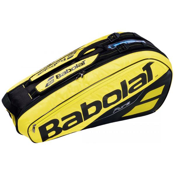 バボラ テニス ラケットバッグ ピュアライン ラケットホルダー ×6 (ラケット6本収納可能) イエロー×ブラック (BB751182)