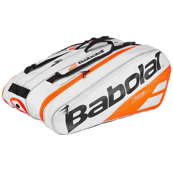 バボラ テニス ラケットバッグ ピュアライン ラケットホルダー ×12 (ラケット12本収納可能)  ホワイト×レッド (BB751170)