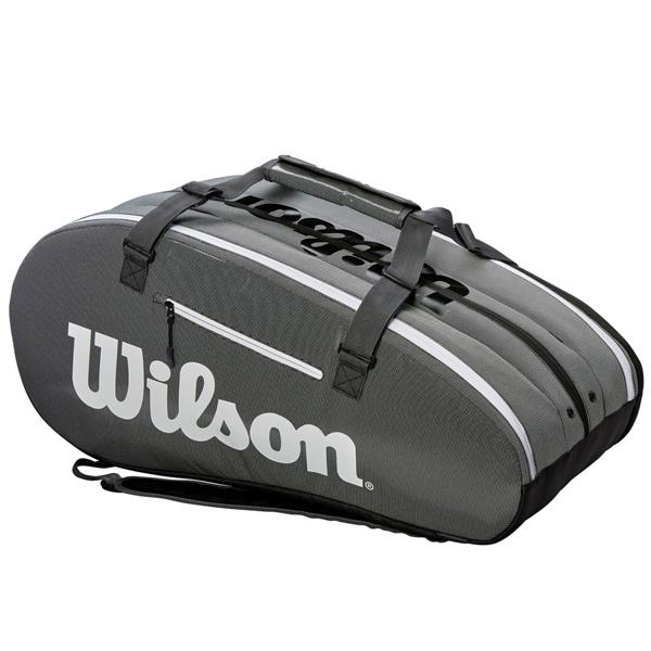 ウィルソン テニス ラケットバッグ SUPER TOUR 3 COMP BLACK GREY (ラケット15本収納可能) (WRZ843915)