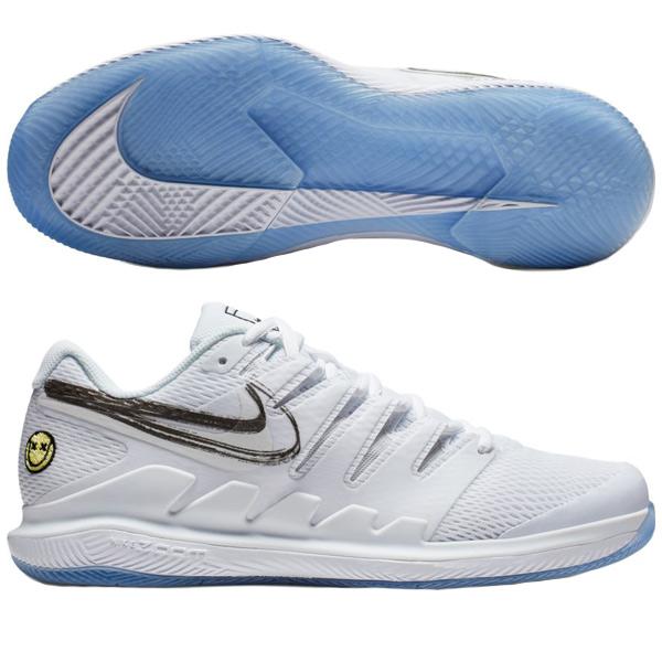 ナイキ メンズ テニスシューズ エア ズーム ヴェイパー X HC (ハード・オールコート用) ホワイト (AA8030・104)