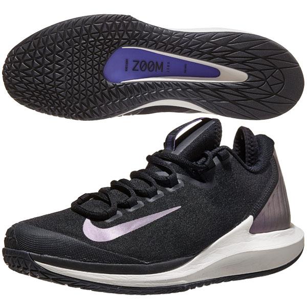 ナイキ メンズ テニスシューズ コート エア ズーム ゼロ HC (ハード・オールコート用) ブラック×マルチカラー (AA8018・004)