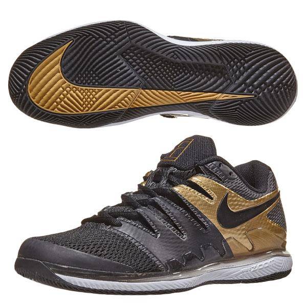 ナイキ メンズ テニスシューズ エア ズーム ヴェイパー X HC (ハード・オールコート用) ブラック×メタリックゴールド×ホワイト (AA8030・008)