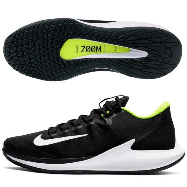 ナイキ メンズ テニス シューズ コート エア ズーム ゼロ HC (ハードコート・オールコート用) ブラック×ホワイト×ボルト (AA8018・007)