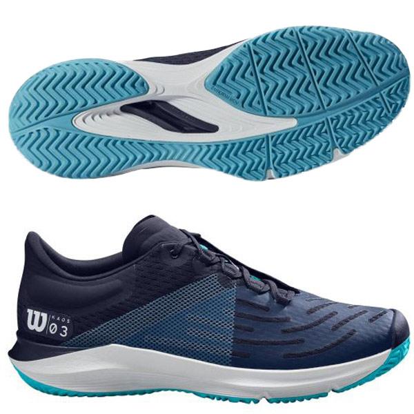 ウィルソン メンズ テニス シューズ KAOS 3.0 AC (オールコート用) ピーコート×ホワイト×スキューバブルー (WRS325920U)