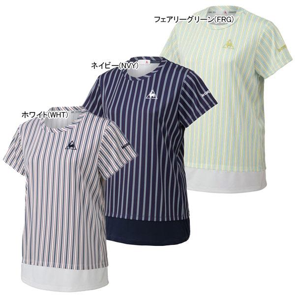 ルコック レディース テニス ウェア ストライプ 半袖シャツ (QTWPJA10)