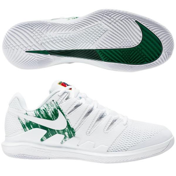 ナイキ メンズ テニス シューズ コート エア ズーム ヴェイパーX HC (ハードコート・オールコート用) ホワイト×クローバー×ゴージグリーン×ホワイト (AA8030・111)