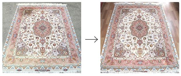 ペルシャ絨毯の色褪せとしみ抜き補修