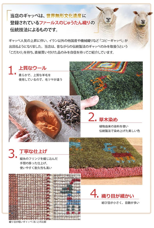 当店のギャッベは、世界無形文化遺産に登録されているファー留守のじゅうたん織りの伝統技法によるものです。