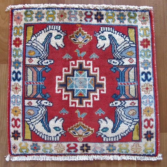 カシュガイ絨毯 座布団サイズ 59×58cm