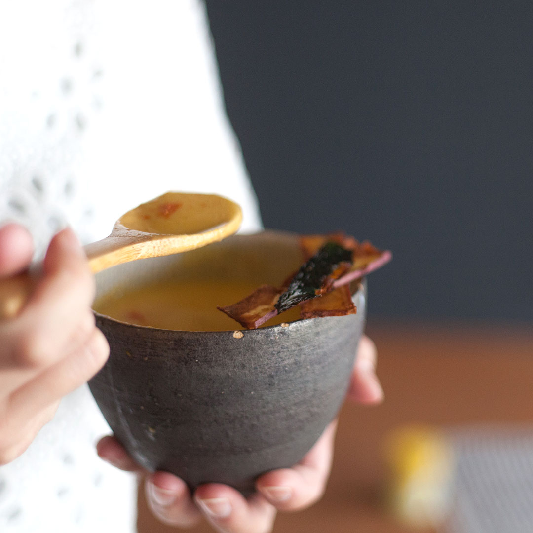 ▷サツマイモとカボチャの豆乳ポタージュ 〜ゆず一味の香り〜