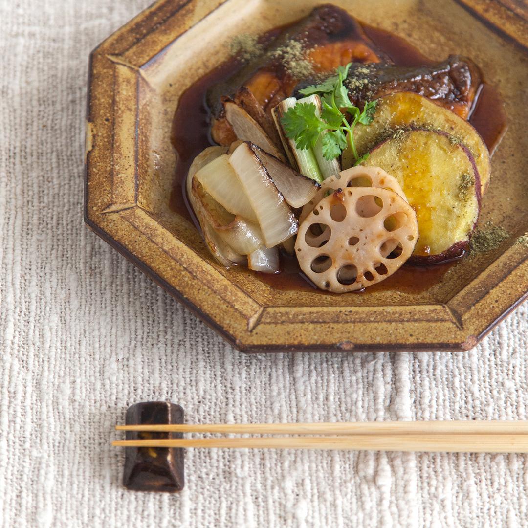 鰤の山椒照り焼きと季節の焼き野菜添え