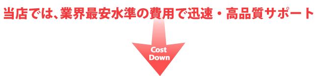 当店では、業界最安水準の費用で迅速・高品質サポート