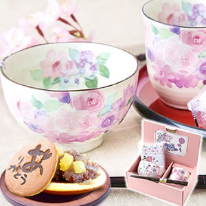 敬老の日 2021 茶碗(花ピンク) 和菓子どら焼き お菓子付きセット