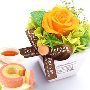 敬老の日  薔薇プリザエッフェル【オレンジ】+カップケーキ2個