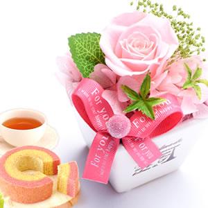 敬老の日  薔薇プリザエッフェル【ピンク】+カップケーキ2個