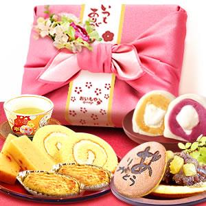 敬老の日  竹かご風呂敷+ブーケット(ピンク/ありがとうのみ)