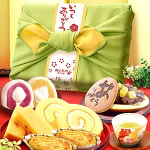 敬老の日  竹かご風呂敷セット(緑/ありがとう)