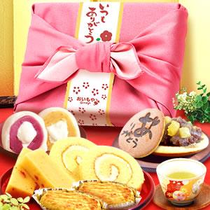 敬老の日  竹かご風呂敷セット(ピンク/ありがとう)
