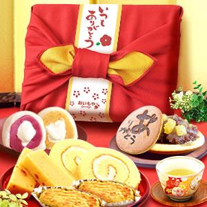 敬老の日  竹かご風呂敷セット(赤/ありがとう)