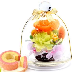 敬老の日  ガラスドームプリザM【オレンジ】+プリン