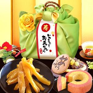 敬老の日  籠バックスイーツセット(緑/ありがとう)