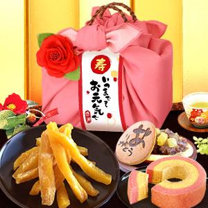敬老の日  籠バックスイーツセット(ピンク/ありがとう)