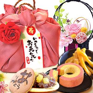 敬老の日  花籠プリザ【ピンク】+籠バックスイーツ