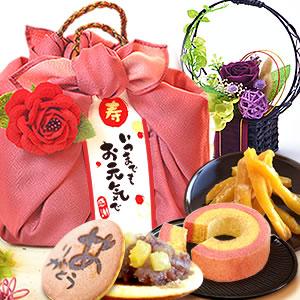敬老の日  花籠プリザ【紫】+籠バックスイーツ