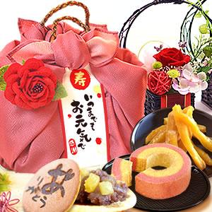 敬老の日  花籠プリザ【赤】+籠バックスイーツ