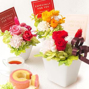 敬老の日 おすすめ プリザーブドフラワー 薔薇とプリン