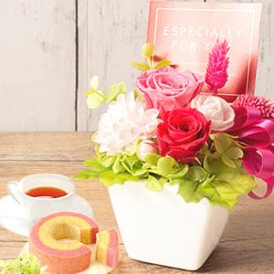 敬老の日 おすすめ プリザーブドフラワー 薔薇 ピンク