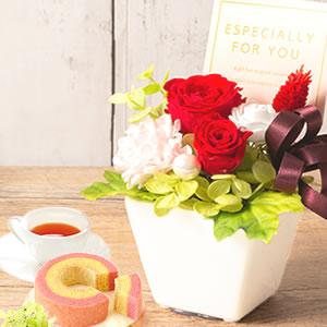 敬老の日 おすすめ プリザーブドフラワー 薔薇 赤