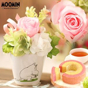 敬老の日のプレゼント ムーミン プリザーブドフラワー ピンク
