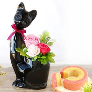 敬老の日 人気 【猫】プリザーブドフラワー 黒
