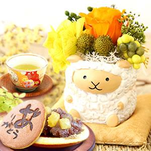 敬老の日 プレゼント 羊のプリザ―ブドフラワー どら焼き 白