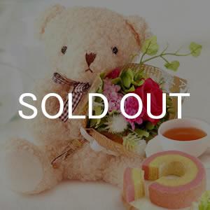 敬老の日  可愛い花束テディベア【白】+カップケーキ2個