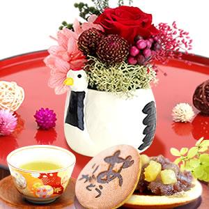 敬老の日 プレゼント 鶴プリザーブドフラワーとどら焼き