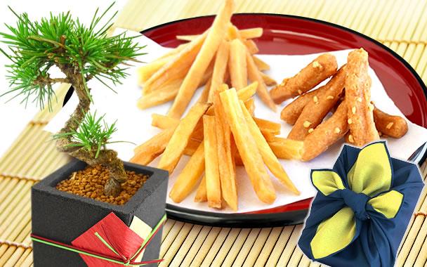 数量限定!松の盆栽&かりんとうセット