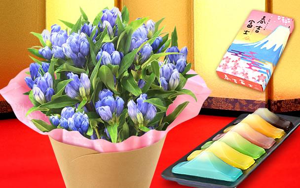 敬老の日 りんどう5号鉢と富士山羊羹