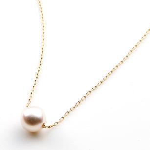 K10あこや真珠一粒スルーペンダント60cm