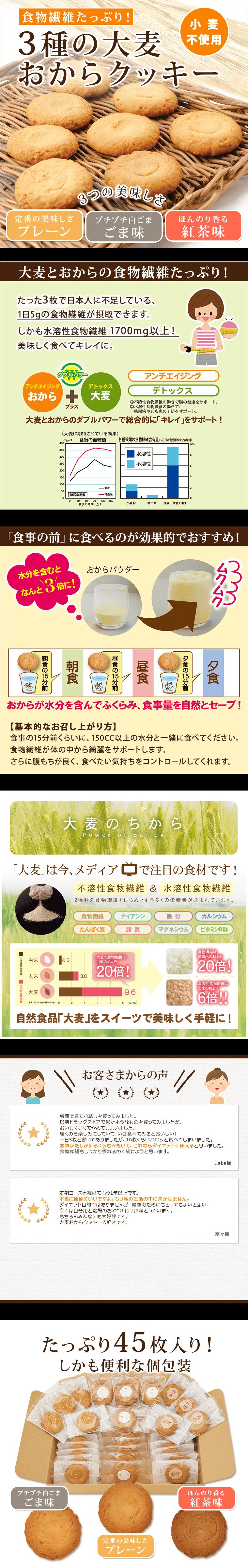 食物繊維たっぷり!3種の大麦おからクッキー