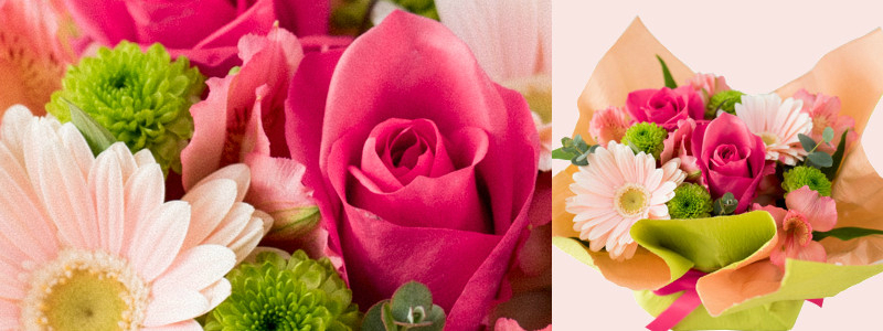 Wine and flower sweets champagne gift flower arrangement arrangement pink  rose France