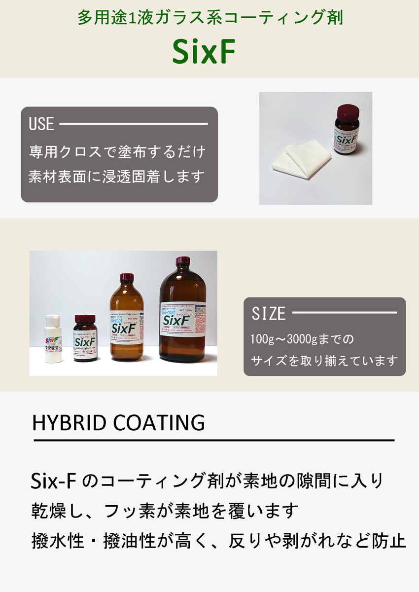 ガラスコーティング剤six-F商品説明